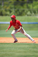 Palm Beach Cardinals shortstop Oscar Mercado (21) leads off second during a game against the Charlotte Stone Crabs on April 10, 2016 at Charlotte Sports Park in Port Charlotte, Florida.  Palm Beach defeated Charlotte 4-1.  (Mike Janes/Four Seam Images)