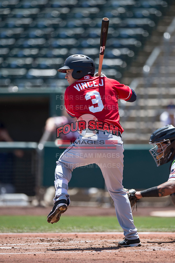 Tacoma Rainiers shortstop Zach Vincej (3) at bat during a Pacific Coast League against the Sacramento RiverCats at Raley Field on May 15, 2018 in Sacramento, California. Tacoma defeated Sacramento 8-5. (Zachary Lucy/Four Seam Images)