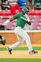 Chantz Mack #2 of the Miami Hurricanes follows through on his swing against the Wake Forest Demon Deacons at Gene Hooks Field on March 18, 2011 in Winston-Salem, North Carolina.  Photo by Brian Westerholt / Four Seam Images