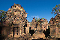 Hindu temples in the inner enclosure of Banteay Srei  in red sandstone, 10th century Khmer architecture at Angkor Wat -  Siem Reap, Cambodia...