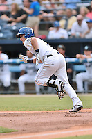 Asheville Tourists second baseman Brendan Rodgers (1) runs to first base during a game against the Columbia Fireflies at McCormick Field on June 17, 2016 in Asheville, North Carolina. The Tourists defeated the Fireflies 6-2. (Tony Farlow/Four Seam Images)
