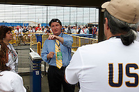 Volunteers get their instructions prior to the gates being opened. The men's national teams of the United States and Argentina played to a 0-0 tie during an international friendly at Giants Stadium in East Rutherford, NJ, on June 8, 2008.