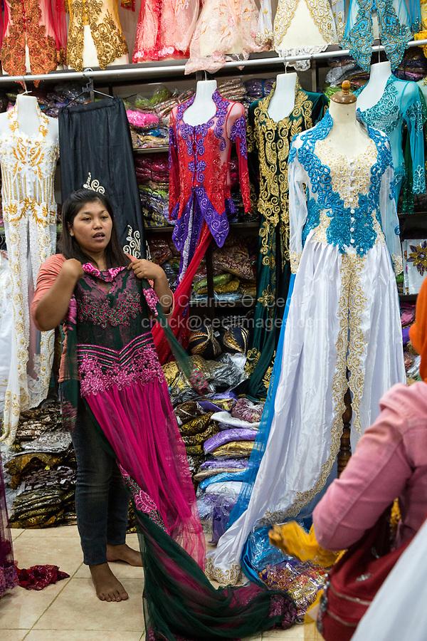 Yogyakarta, Java, Indonesia. Woman's Dress Shop,  Beringharjo Market.