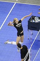 Omaha, NE - DECEMBER 20:  Outside hitter Alex Fisher #5 of the Stanford Cardinal during Stanford's 20-25, 24-26, 23-25 loss against the Penn State Nittany Lions in the 2008 NCAA Division I Women's Volleyball Final Four Championship match on December 20, 2008 at the Qwest Center in Omaha, Nebraska.