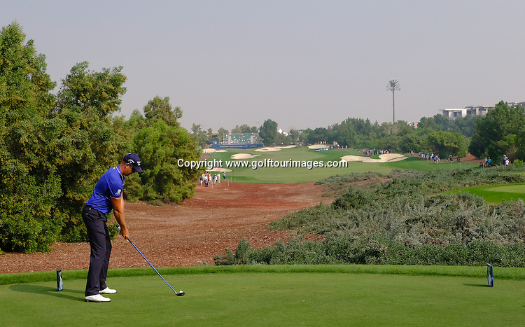 Henrik Stenson, IMG, Hugo Boss, Schuco, BMW, Delwood, FootJoy, Marquis Jet, Mutual of Omaha, Rolex, Taylor Made during round three of the 2016 DP World Tour Championships played over the Earth Course at Jumeirah Golf Estates, Dubai, UAE: Picture Stuart Adams, www.golftourimages.com: 11/19/16