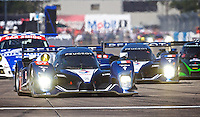 The pole sitting #07 Peugeot 908 HDI FAP of Marc Gene, Alexander Wurz, and Anthony Davidson leads early during the 12 Hours of Sebring, Sebring, FL, MArch 20, 2010.  (Photo by Brian Cleary/www.bcpix.com)