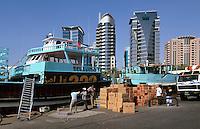 Vereinigte arabische Emirate (VAE, UAE), Dubai, Dhau Hafen (Dhow Wharf) in Deira
