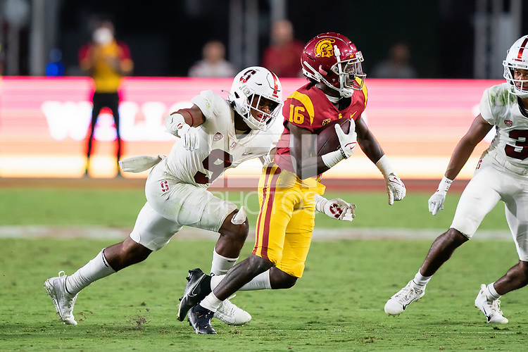 LOS ANGELES, CA - SEPTEMBER 11: Noah Williams during a game between University of Southern California and Stanford Football at Los Angeles Memorial Coliseum on September 11, 2021 in Los Angeles, California.