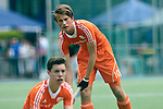 GER - Mannheim, Germany, May 25: During the U16 Boys match between The Netherlands (orange) and Germany (black) during the international witsun tournament on May 25, 2015 at Mannheimer HC in Mannheim, Germany. Final score 3-4 (1-2). (Photo by Dirk Markgraf / www.265-images.com) *** Local caption *** Teun Kropholler #10 of The Netherlands