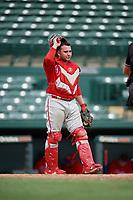 Philadelphia Phillies catcher Juan Aparicio (4) during a Florida Instructional League game against the Baltimore Orioles on October 4, 2018 at Ed Smith Stadium in Sarasota, Florida.  (Mike Janes/Four Seam Images)