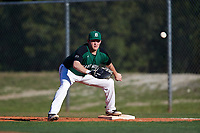 Dartmouth Big Green first baseman Michael Calamari (3) stretches for a throw during a game against the Northeastern Huskies on March 3, 2018 at North Charlotte Regional Park in Port Charlotte, Florida.  Northeastern defeated Dartmouth 10-8.  (Mike Janes/Four Seam Images)