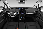 Stock photo of straight dashboard view of 2019 Toyota Prius-Prime Plus 5 Door Hatchback Dashboard