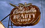 Sign for Cinderella Beauty salon in Long Beach CA circa 1989