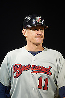 Brevard County Manatees manager Joe Ayrault (11) during a game against the Fort Myers Miracle on April 13, 2016 at Hammond Stadium in Fort Myers, Florida.  Fort Myers defeated Brevard County 3-0.  (Mike Janes/Four Seam Images)