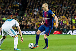 Andres Iniesta Lujan (R) of FC Barcelona is tackled by Luka Modric of Real Madrid during the La Liga 2017-18 match between FC Barcelona and Real Madrid at Camp Nou on May 06 2018 in Barcelona, Spain. Photo by Vicens Gimenez / Power Sport Images
