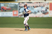 High Point-Thomasville HiToms second baseman Max Hildreth (7) (Memphis) warms up between innings of the game against the Deep River Muddogs at Finch Field on June 27, 2020 in Thomasville, NC.  The HiToms defeated the Muddogs 11-2. (Brian Westerholt/Four Seam Images)