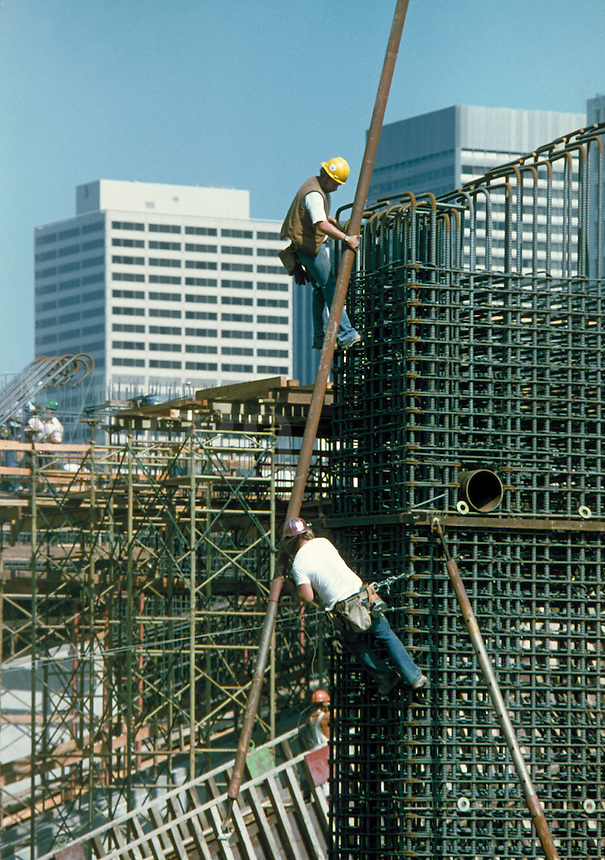Reinforcing steel frame for concrete construction. occupations. California.
