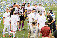 Houston, TX - Friday December 11, 2016: The Stanford Cardinal pose for a photo after defeating the Wake Forest Demon Deacons for the College Cup at the NCAA Men's Soccer Finals at BBVA Compass Stadium in Houston Texas.