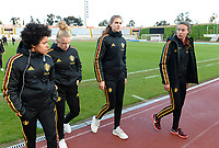20190304 - LARNACA , CYPRUS :  Belgian Kassandra Missipo , Elena Dhont , Marie Minnaert and Silke Vanwynsberghe pictured during a women's soccer game between Nigeria and the Belgian Red Flames , on Monday 4 th March 2019 at the GSZ Stadium in Larnaca , Cyprus . This is the third and last game in group C for both teams during the Cyprus Womens Cup 2019 , a prestigious women soccer tournament as a preparation on the Uefa Women's Euro 2021 qualification duels. PHOTO SPORTPIX.BE | DAVID CATRY