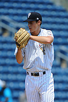 Staten Island Yankees pitcher Tim Flight (56) during game against the Aberdeen Ironbirds at Richmond County Bank Ballpark at St.George on July 18, 2012 in Staten Island, NY.  Staten Island defeated Aberdeen 3-2.  Tomasso DeRosa/Four Seam Images