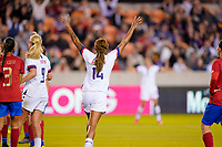HOUSTON, TX - FEBRUARY 03: Jessica McDonald #14 of the United States begins to celebrate during a game between Costa Rica and USWNT at BBVA Stadium on February 03, 2020 in Houston, Texas.