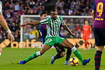 Sidnei Rechel Da Silva Junior of Real Betis (R) fights for the ball with Lionel Andres Messi of FC Barcelona during the La Liga 2018-19 match between FC Barcelona and Real Betis at Camp Nou, on November 11 2018 in Barcelona, Spain. Photo by Vicens Gimenez / Power Sport Images