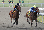 Concept with Oriana Rossi (black cap) duels with Adena's Chance with Anthony Stephen at the top of the stretch in the 1st race at Keeneland Race Course. Lexington, KY. 04.08.2011.