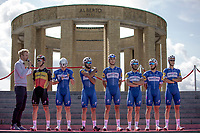 Team Quick Step Floors at the pre race Team Presentation with the World War I memorial, King Albert I monument, in the background. <br /> <br /> <br /> 1st Great War Remembrance Race 2018 (UCI Europe Tour Cat. 1.1) <br /> Nieuwpoort > Ieper (BE) 192.7 km