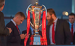 The Six Nations trophy - Wales's national rugby team who won both the Six Nations and the Grand Slam are welcomed to the National Assembly for Wales Senedd building in Cardiff Bay today for a public celebration event.