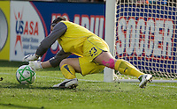 Jennz Branam saves the penalty shot. FC Gold Pride defeated Sky Blue FC 1-0 at Buck Shaw Stadium in Santa Clara, California on May 3, 2009.