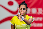 Zarina Diyas of Kazakhstan competes against Daria Gavrilova of Australia during the singles first round match at the WTA Prudential Hong Kong Tennis Open 2018 at the Victoria Park Tennis Stadium on 09 October 2018 in Hong Kong, Hong Kong. Photo by Yu Chun Christopher Wong / Power Sport Images
