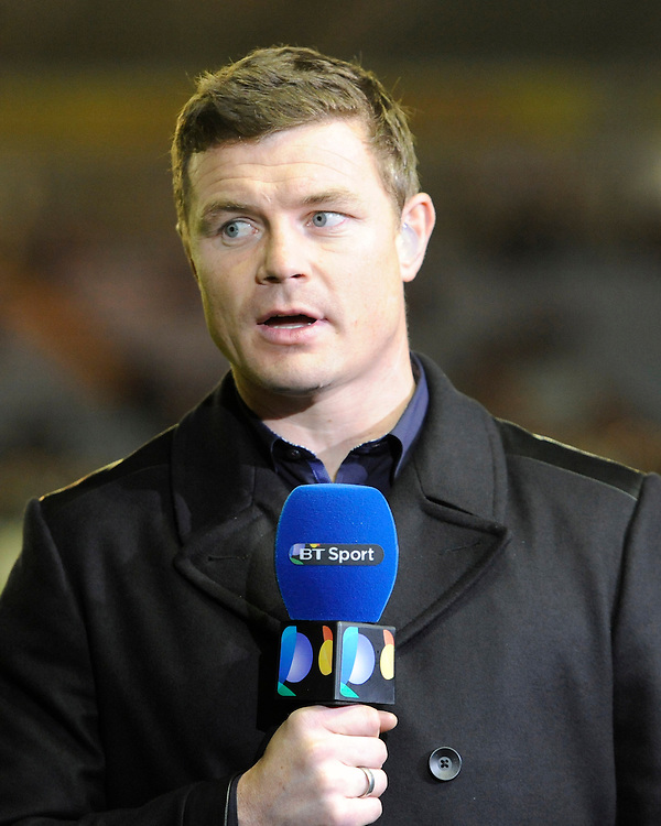 BT Sport presenter Brian O'Driscoll during the European Rugby Champions Cup  Round 1 match between Harlequins and Castres Olympique at the Twickenham Stoop on Friday 17th October 2014 (Photo by Rob Munro)