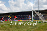 Brian Ó Beaglaoich, scores Kerry's first goal during the Munster GAA Football Senior Championship Final match between Kerry and Cork at Fitzgerald Stadium in Killarney on Sunday.