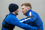 St Johnstone Training…….07.02.20<br />Liam Craig and Chris Kane pictured during a foggy training session at McDiarmid Park this morning ahead of tomorrows Scottish Cup game at Ayr.<br />Picture by Graeme Hart.<br />Copyright Perthshire Picture Agency<br />Tel: 01738 623350  Mobile: 07990 594431