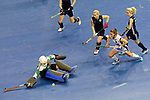 Berlin, Germany, February 10: During the FIH Indoor Hockey World Cup semi-final match between Belarus (dark blue) and Germany (white) on February 10, 2018 at Max-Schmeling-Halle in Berlin, Germany. Final score 2-3. (Photo by Dirk Markgraf / www.265-images.com) *** Local caption *** Maryna NAVITSKAYA #20 of Belarus Lisa ALTENBURG #18 of Germany