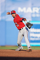Fort Myers Miracle shortstop Nelson Molina (19) throws to first base during a game against the Dunedin Blue Jays on April 17, 2018 at Dunedin Stadium in Dunedin, Florida.  Dunedin defeated Fort Myers 5-2.  (Mike Janes/Four Seam Images)