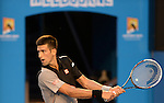 NOvak Djokovic (SRB) defeats Lukas Lacko (SVK) 6-3, 7-6, 6-1 at the Australian Open in Melbourne, Australia on January 13, 2014