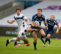 29th August 2020; AJ Bell Stadium, Salford, Lancashire, England; English Premiership Rugby, Sale Sharks versus Bristol Bears;  Sam James of Sale Sharks with the ball is tackled by Bristol Bears
