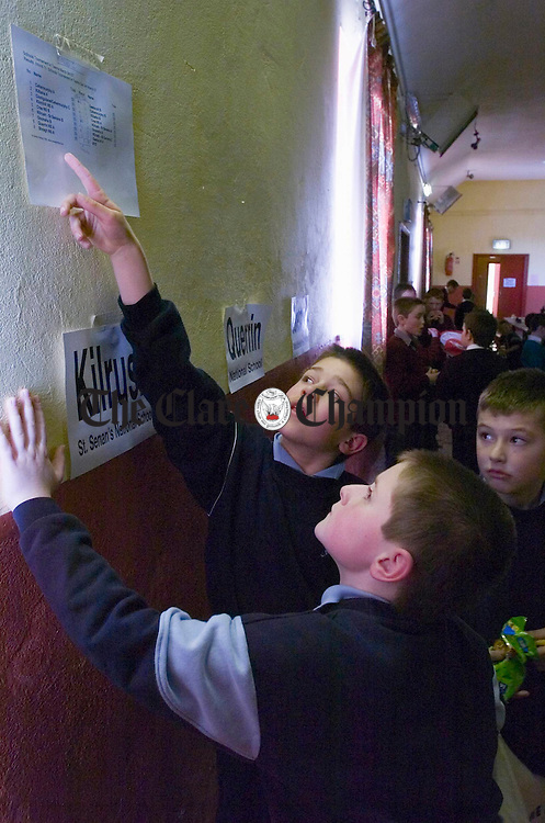 Youngsters check their schools placings at the West Clare Chess Schools tournament in Knockerra Hall. Photograph by John Kelly.