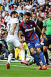 Real Madrid´s Alvaro Arbeloa and Eibar´s Manuel Del Moral during 2014-15 La Liga match between Real Madrid and Eibar at Santiago Bernabeu stadium in Madrid, Spain. April 11, 2015. (ALTERPHOTOS/Luis Fernandez)