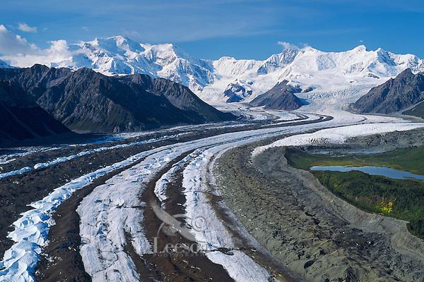 Kennicott Glacier and Mount Blackburn in Wrangell-St. Elias National Park, Alaska.