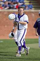 Carson Jackson (10) of the High Point Panthers celebrates after hitting a home run against the NJIT Highlanders during game one of a double-header at Williard Stadium on February 18, 2017 in High Point, North Carolina.  The Panthers defeated the Highlanders 11-0.  (Brian Westerholt/Four Seam Images)