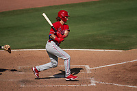 Philadelphia Phillies Mickey Moniak (16) bats during a Major League Spring Training game against the Baltimore Orioles on March 12, 2021 at the Ed Smith Stadium in Sarasota, Florida.  (Mike Janes/Four Seam Images)