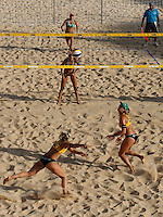 Germany's Laura Ludwig, bottom left, and Kira Walkenhorst, bottom right, in action against Brazil's Taiana Lima, top, and Talita Antunes, at the Beach Volleyball World Tour Grand Slam, Foro Italico, Rome, 21 June 2013.<br /> UPDATE IMAGES PRESS/Isabella Bonotto