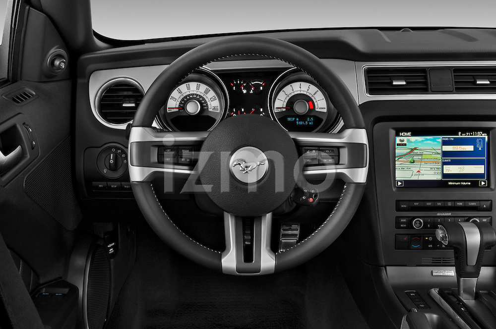 Steering wheel view of a 2010 Ford Mustang Coupe GT Premium