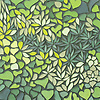 Living Wall, a waterjet mosaic, shown in shades of green Serenity glass, is part of the Broad Street™ collection by New Ravenna.