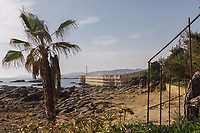 The coastline around the Modern Saraylar hotel in southern Turkey with a dividing wall in the background indicating the women only area of the beach. Halal hotels have sex segregated pool and beach areas, surrounded by walls and/or screens to ensure privacy for female guests.