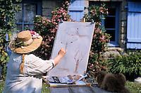 Europe/France/Bretagne/29/Finistère/Plomeur: La maison et le jardin de Jocelyne Le Bellec (artiste peintre) [Non destiné à un usage publicitaire - Not intended for an advertising use]