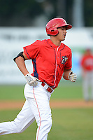 Williamsport Crosscutters outfielder Dylan Cozens #18 runs the bases after hitting a home run during a game against the Auburn Doubledays on July 8, 2013 at Bowman Field in Williamsport, Pennsylvania.  Auburn defeated Williamsport 5-1.  (Mike Janes/Four Seam Images)