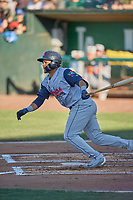 Luis Avalo (21) of the Rocky Mountain Vibes at bat against the Ogden Raptors at Lindquist Field on July 5, 2019 in Ogden, Utah. The Raptors defeated the Vibes 6-4. (Stephen Smith/Four Seam Images)